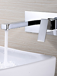 cheap -Bathroom Sink Faucet - Widespread /  Design Chrome Wall Mounted Single Handle Two HolesBath Taps
