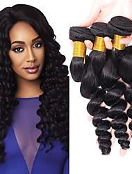 cheap -3 Bundles Peruvian Hair Wavy Human Hair Natural Color Hair Weaves / Hair Bulk Extension 8-28 inch Natural Human Hair Weaves Best Quality New Arrival Human Hair Extensions / 8A