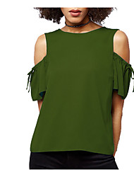 cheap -Women's Daily Vintage Puff Sleeve Cotton T-shirt - Solid Colored Black & White, Tassel Fringe Black