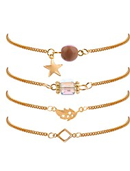 cheap -4pcs Women's Crystal Chain Bracelet Stylish Leaf Star Ladies Simple Trendy Fashion Resin Bracelet Jewelry Gold For Daily Office & Career