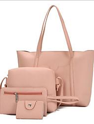 cheap -Women's Zipper PU Bag Set Bag Sets 4 Pieces Purse Set Black / Brown / Wine
