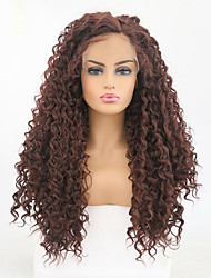 cheap -Synthetic Lace Front Wig Curly Matte Side Part Lace Front Wig Long Dark Auburn Synthetic Hair 24 inch Women's Adjustable Heat Resistant Dark Brown