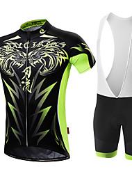 cheap -Malciklo Men's Short Sleeve Cycling Jersey with Bib Shorts White Black Lion Bike Clothing Suit Breathable 3D Pad Quick Dry Back Pocket Sports Coolmax® Lycra Lion Mountain Bike MTB Road Bike Cycling