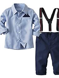 cheap -Kids Toddler Boys' Basic Anniversary Home Blue & White Striped Embroidered Long Sleeve Regular Regular Clothing Set Blue