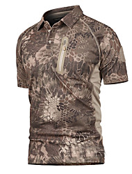cheap -Men's Camo Hiking Tee shirt Short Sleeve Outdoor Breathable Quick Dry Wear Resistance Tee / T-shirt Top Summer Polyester Shirt Collar Camping / Hiking Hunting Outdoor Exercise Khaki Black