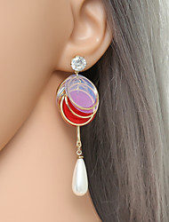cheap -Women's Cubic Zirconia Freshwater Pearl Drop Earrings Geometrical Ladies Country Lolita Cowboy Fashion Earrings Jewelry Red / Light Pink For Gift Ceremony 1 Pair