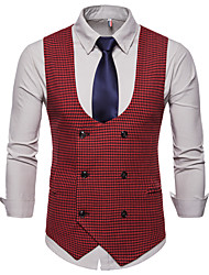 cheap -Men's Daily / Work Business / Basic Fall / Winter Plus Size Regular Vest, Houndstooth V Neck Sleeveless Cotton / Polyester Black / Red / Army Green / Business Casual / Slim