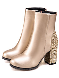 cheap -Women's Boots Party Heels Chunky Heel Pointed Toe Sequin PU(Polyurethane) Booties / Ankle Boots Fashion Boots / Bootie Fall & Winter Black / Silver / Red / Party & Evening / Color Block