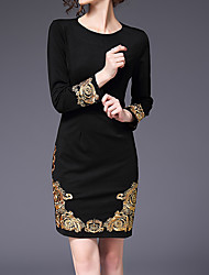 cheap -Women's Plus Size Black Dress - Long Sleeve Solid Colored Embroidered Fall Sophisticated Going out Slim Black S M L XL XXL XXXL