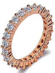 cheap -Women's Band Ring Ring Eternity Band Ring 1pc Rose Gold Silver Brass Platinum Plated Rose Gold Plated Ladies Classic Trendy Wedding Gift Jewelry Stylish Round Cut Blessed Faith Cool
