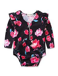 cheap -Baby Girls' Active / Street chic Daily / Holiday Floral / Print Printing Long Sleeve Bodysuit Black