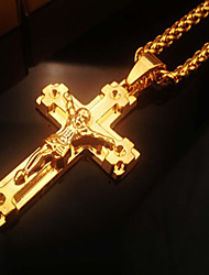 cheap -Women's Pendant Necklace Stylish Thick Chain Cross Crucifix Statement Ladies Fashion Hip-Hop Alloy Gold 46 cm Necklace Jewelry 1pc For Club Bar