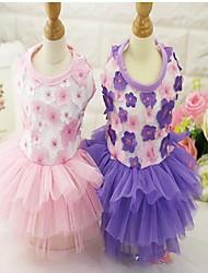 cheap -Dogs Cats Dress Dog Clothes Purple Pink Costume Poly / Cotton Blend Flower / Floral Lace Dresses&Skirts Flower Style XS S M L XL