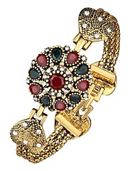 cheap -Women's Bracelet Bangles 3D Flower Ladies Classic Vintage Rhinestone Bracelet Jewelry Gold For Daily