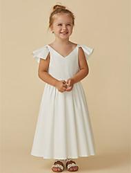 cheap -A-Line Tea Length Flower Girl Dress - Chiffon Short Sleeve V Neck with Ruffles / First Communion
