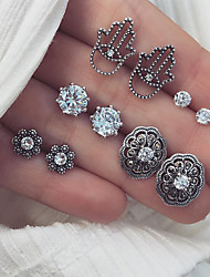 cheap -Women's Crystal Stud Earrings Earrings Set Hollow Out Flower Shape Ladies Vintage Bohemian Fashion Earrings Jewelry Silver Hamsa Hand For Party / Evening Holiday 5 Pairs