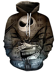 cheap -Men's Plus Size Active / Exaggerated Long Sleeve Loose Hoodie - 3D / Cartoon Print Hooded Brown S / Fall / Winter