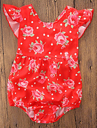 cheap -Baby Girls' Active / Chinoiserie Daily / Holiday Floral / Print Printing Short Sleeves Bodysuit Red / Toddler