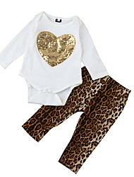 cheap -Baby Girls' Basic Daily Solid Colored Long Sleeve Regular Clothing Set Brown / Toddler