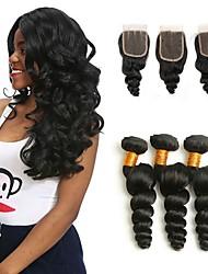 cheap -3 Bundles with Closure Peruvian Hair Loose Wave Human Hair Unprocessed Human Hair Natural Color Hair Weaves / Hair Bulk Bundle Hair One Pack Solution 8-20 inch Natural Color Human Hair Weaves New