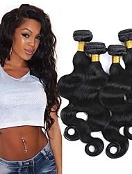 cheap -4 Bundles Brazilian Hair Wavy Human Hair Natural Color Hair Weaves / Hair Bulk Bundle Hair One Pack Solution 8-28 inch Natural Natural Color Human Hair Weaves Safety Classic Best Quality Human Hair