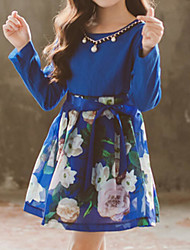 cheap -Kids Girls' Sweet Street chic Daily Going out Floral Patchwork Lace up Print Pear Cut Long Sleeve Knee-length Above Knee Dress Blue / Cotton