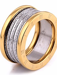 cheap -Couple's Ring Multi Finger Ring Groove Rings 1pc Gold Gold / Black Titanium Steel Round Ladies Stylish European Street Going out Jewelry Vintage Style Stylish Number Cool