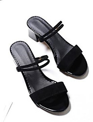 cheap -Women's Sandals Chunky Heel Open Toe PU(Polyurethane) Basic Pump Summer Black / Orange / Yellow