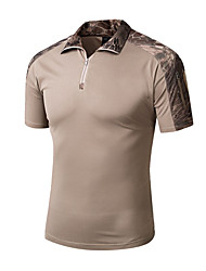cheap -Men's Camo Hiking Tee shirt Short Sleeve Outdoor Breathable Quick Dry Wear Resistance Tee / T-shirt Top Summer Polyester Standing Collar Camping / Hiking Hunting Outdoor Exercise Khaki