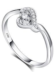 cheap -Women's Ring 1pc Silver Platinum Plated Imitation Diamond White Gold Geometric Ladies Romantic Korean Wedding Gift Jewelry Stylish Round Cut Halo Heart Love Cute Heart