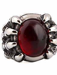 cheap -Men's Ring Synthetic Ruby 1pc Wine Titanium Steel Glass Round Geometric Statement Stylish European Gift Street Jewelry Stylish Solitaire Creative Precious Cool