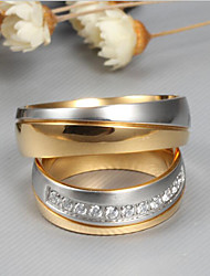 cheap -Couple's Couple Rings spinning ring AAA Cubic Zirconia 2pcs Gold Titanium Steel Titanium Steel Round Ladies Fashion Elegant Wedding Engagement Jewelry Two tone Friendship
