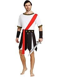 cheap -Soldier / Warrior Roman Costumes Adults Men's Ancient Greek Ancient Rome Halloween Costume For Polyster Solid Colored Halloween Halloween Carnival Masquerade Leotard / Onesie Shawl Belt