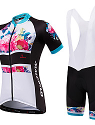 cheap -Malciklo Women's Short Sleeve Cycling Jersey with Bib Shorts White Black Floral Botanical Plus Size Bike Bib Shorts Jersey Padded Shorts / Chamois Breathable Anatomic Design Reflective Strips Back