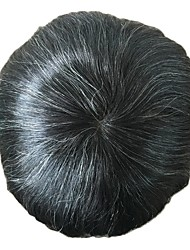 cheap -PANSY Custom Mens Toupee Hairpiece Swiss Lace with PU Human Hair Replacement System 8x10 inch natural black mix 20% grey hair