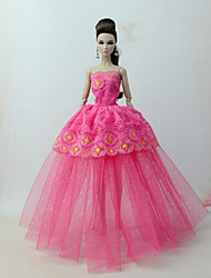 cheap -Doll Dress Dresses For Barbiedoll Lace Fuchsia Tulle Lace Cotton Blend Dress For Girl's Doll Toy