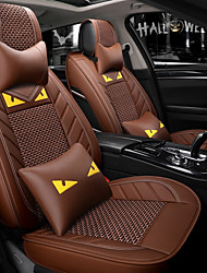 cheap -5 seats Coffee Cartoon car seat cover with two headrest and two waist cushions/PU leather and ice silk material/Airbag compatibility/Four Seasons Universal
