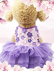 cheap -Dogs Cats Pets Dress Holiday Decorations Dog Clothes Purple Pink Costume Husky Labrador Alaskan Malamute Cotton / Linen Blend Jacquard Flower / Floral Embroidered Sports & Outdoors Stylish XS S M L XL