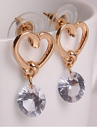 cheap -Women's Cubic Zirconia Drop Earrings Solitaire Round Cut Heart Cheap Hollow Heart Ladies Simple Sweet Fashion Earrings Jewelry Golden For Wedding Daily Casual Masquerade Engagement Party Prom 1pc