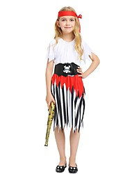 cheap -Pirate Costume Flower Girl Dress Kids Girls' A-Line Slip Halloween Halloween Carnival Children's Day Festival / Holiday Polyster White Carnival Costumes Striped Solid Colored Halloween / Top / Pants