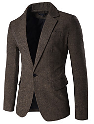cheap -Men's Daily / Work Basic / Street chic Fall & Winter Regular Blazer, Houndstooth Shirt Collar Long Sleeve Cotton / Polyester Brown / Black / Gray / Business Casual / Slim