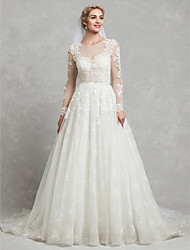 cheap -A-Line Wedding Dresses Jewel Neck Court Train Lace Tulle Long Sleeve Sexy See-Through Illusion Detail Backless with Lace Appliques 2020