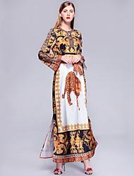 cheap -Women's Going out / Beach Vintage / Street chic Maxi Loose Jalabiya Dress Print Spring Cotton Yellow XL XXL XXXL
