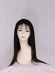 cheap -Remy Human Hair Lace Front Wig With Ponytail style Burmese Hair Natural Straight Black Wig 130% Density with Baby Hair Normal Women's Very Long Wig Accessories