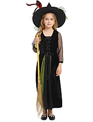 cheap -Witch Costume Girls' Teen Halloween Halloween Carnival Children's Day Festival / Holiday Polyster Outfits Black Solid Colored Halloween
