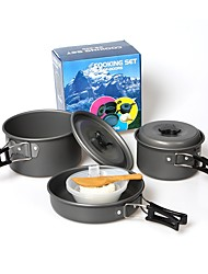 cheap -Camping Cookware Mess Kit Camping Pot with Pan Set 9pcs Lightweight Case Included Folding Hard Alumina Aluminium for 2 - 3 person Outdoor Hiking Camping Winter Sports Mountaineering Dark Grey 2