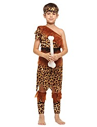 cheap -Primitive Costume Boys' Child's Halloween Halloween Carnival Children's Day Festival / Holiday Polyster Outfits Brown Solid Colored Halloween