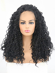 cheap -Synthetic Lace Front Wig Curly Side Part Lace Front Wig Long Black#1B Synthetic Hair Women's Heat Resistant Black