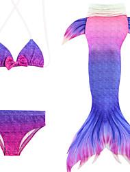abordables -Enfants Fille Actif Sports Sirène Petite Sirène Bloc de Couleur Sans Manches Coton Maillot de Bain Violet