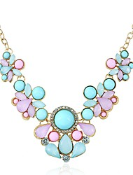 cheap -Women's Cubic Zirconia Bib necklace Vintage Style Stylish Creative Ladies Vintage Fashion Elegant Resin Rhinestone Alloy Rainbow 46 cm Necklace Jewelry 1pc For Party Ceremony